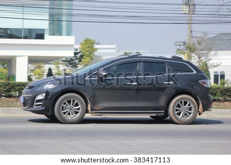 CHIANGMAI, THAILAND -FEBRUARY 9 2016:  Private car, Mazda CX-7,cx7.  On road no.1001, 8 km from Chiangmai city.