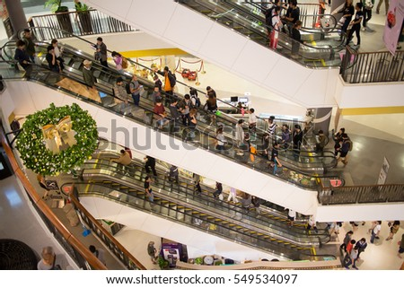 CHIANGMAI, THAILAND -JANUARY 4 2017: People Inside of Central Festival Chiangmai.  3 Km. from Chiangmai City, Thailand.