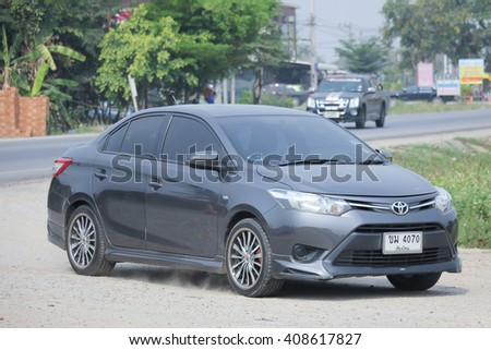 CHIANGMAI, THAILAND -MARCH 12 2016:  Private car, Toyota Vios. Photo at road no.121 about 8 km from downtown Chiangmai, thailand.