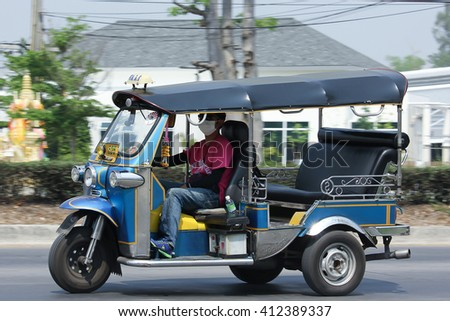 CHIANGMAI, THAILAND -MARCH 21 2016:  Tuk tuk taxi chiangmai, Service in city and around. Photo at road no.121 about 8 km from downtown Chiangmai, thailand.