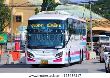CHIANGMAI , THAILAND - MAY  11  2014: Super long Scania 15 meter bus of Sombattour company no.18-8. Route Bangkok and Chiangmai. Photo at Chiangmai bus station, thailand.