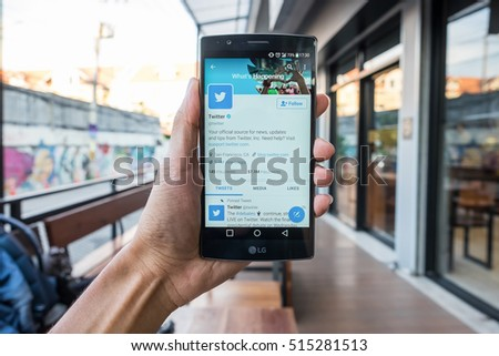 "CHIANGMAI, THAILAND - NOV  13,2016:LG G4 open Twitter application,Twitter is an online social networking and microblogging service that enables users to send and read ""tweets"""