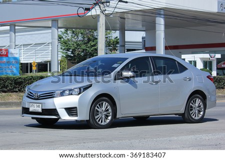 CHIANGMAI, THAILAND -NOVEMBER 24 2015:  Private car, Toyota Corolla Altis. Photo at road no 121 about 8 km from downtown Chiangmai, thailand.