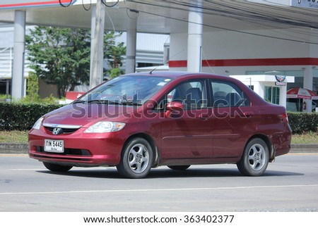CHIANGMAI, THAILAND -NOVEMBER 12 2015:   Private City Car, Honda City. Photo at road no.121 about 8 km from downtown Chiangmai, thailand.