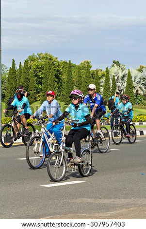 "Chianh mai, Thailand - August 16, 2015: Cyclist in prepared ""Bike for mom"", event show respected to Queen of Thailand on August 16, 2015. record to Guinness Book of World Records."
