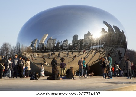 CHICAGO - APR 5. Millennium Park, Chicago on April 5th 2015. Cloud Gate, also known as the Bean is in Millennium Park, the Loop, Chicago. Admission is free.