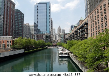 Chicago buildings view from bridge over canal