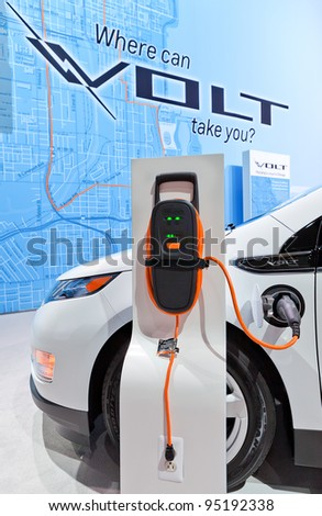 CHICAGO - FEB 9: A Chevrolet Volt charging station at the 2012 Chicago Auto Show Media Preview on February 9, 2012 in Chicago, Illinois.