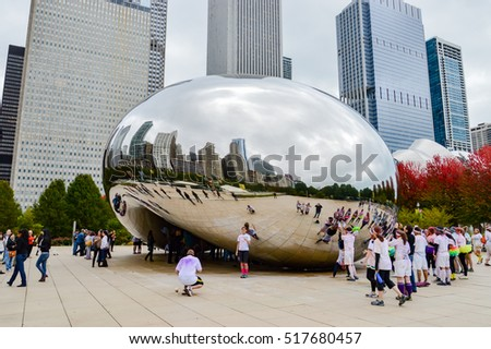 CHICAGO - FEB 19. Millennium Park, Chicago on FEB 19th, 2013. Cloud Gate, also known as the Bean is one of the parks major attractions. Admission is free.