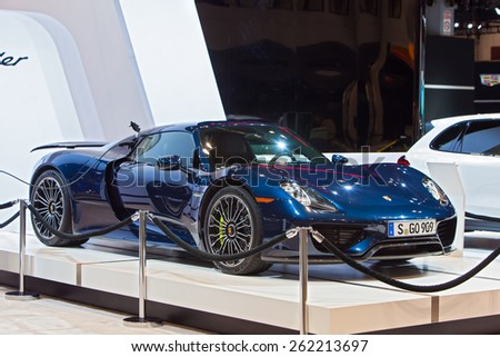 Chicago - February 12: A Porsche 918 Spyder Hybrid on display February 12th, 2015 at the 2015 Chicago Auto Show in Chicago, Illinois.