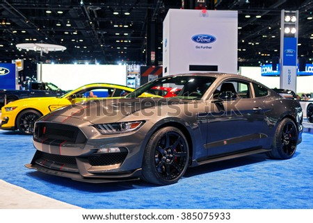 CHICAGO - February 11: The 2017 Ford Shelby Cobra Mustang on display at the Chicago Auto Show media preview February 11, 2016 in Chicago, Illinois.