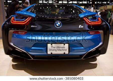 CHICAGO, IL - FEBRUARY 15: BMW i8 concept electric vehicle at the annual International auto-show, February 15, 2016 in Chicago, IL