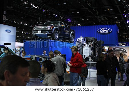 CHICAGO, IL - FEBRUARY 20: Ford's exhibition place at the International auto-show on February 20, 2011 in Chicago, IL