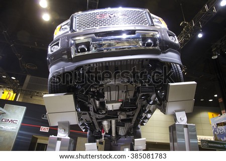 CHICAGO, IL - FEBRUARY 15: GMC Denali pickup truck at the annual International auto-show, February 15, 2016 in Chicago, IL