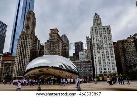 CHICAGO, ILLINOIS - OCTOBER 14, 2013 - The Cloud Gate is a public sculpture by British artist of Indian origin Anish Kapoor and is at the center of the AT & T Plaza in Millennium Park in Chicago