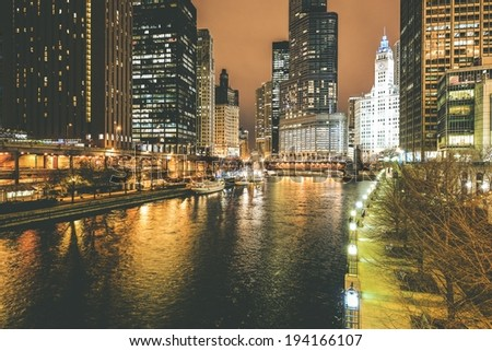 Chicago River at Night. Downtown Chicago Night Cityscape.