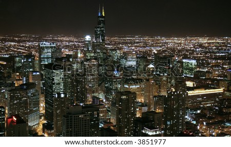 Chicago skyline at night- aerial view