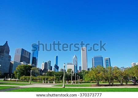 Chicago: skyline seen from Grant Park on September 22, 2014. Grant Park, originally known as Lake Park, was renamed in 1901 to honor Ulysses S. Grant