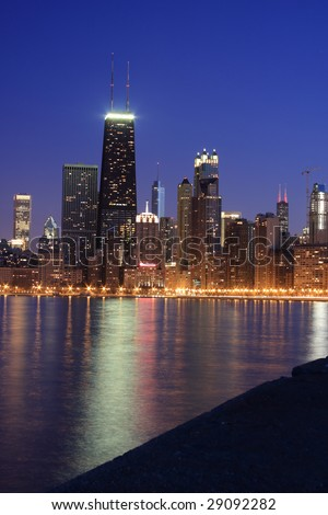 Chicago skyline viewed from the pier along Lake Michigan