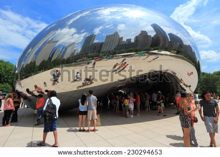 CHICAGO, USA - JUNE 27, 2013: People visit Cloud Gate in Millennium Park in Chicago. With 2.7 million residents, Chicago is the 3rd most populous city in the USA.