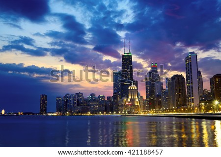 Chicago waterfront with skyline at dusk, IL, United States