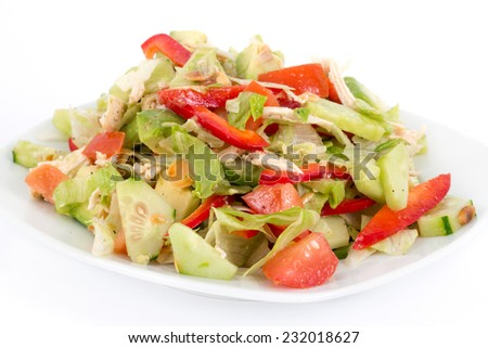 chicken and avocado fresh salad over white