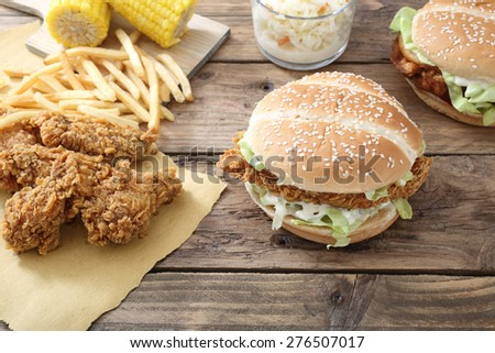 chicken fried and sandwich