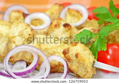 Chicken kebab with vegetables on a plate
