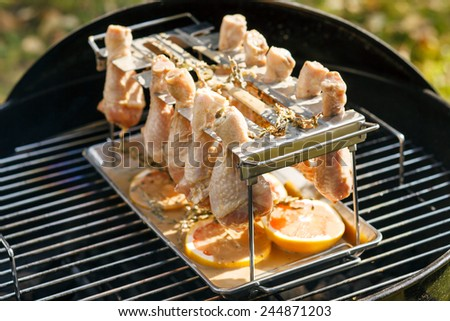 chicken on grill