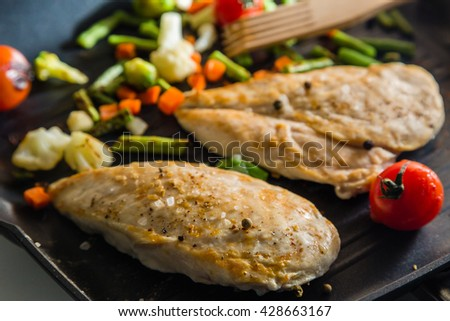 Chicken stean grilling on pan