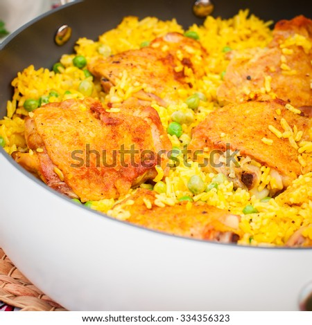 Chicken Thigh and Rice Biryani with Green Peas, square, close up