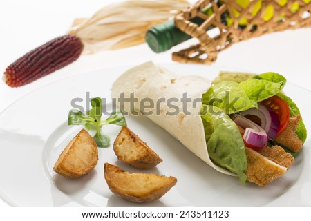 chicken wrap with fresh vegetables and steak potatoes, on the plate decorated studio shot