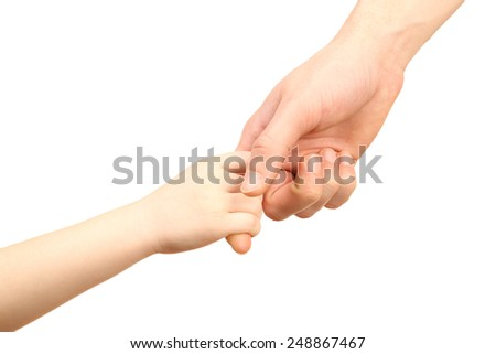 Child and father hands isolated on white