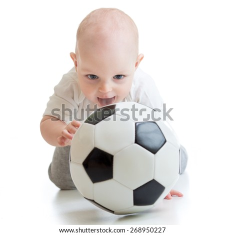 child boy with soccer ball isolated on white