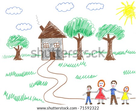 Child drawing of happy family walking to their house - drawn by myself