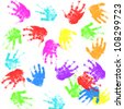 child hand prints - stock photo