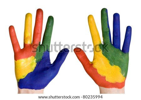 Child hands painted in colorful paints ready for hand prints.