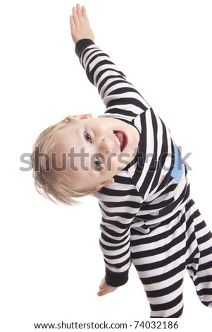 child in striped clothes