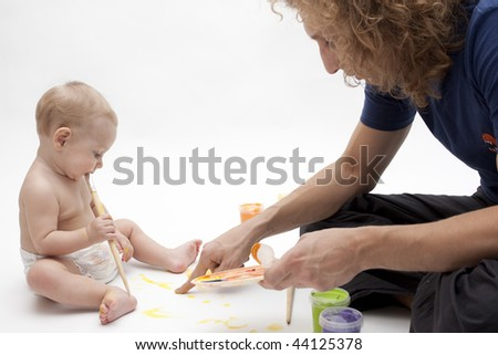 Child is drawing on white background