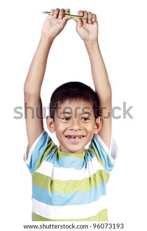 Child laughing on white background