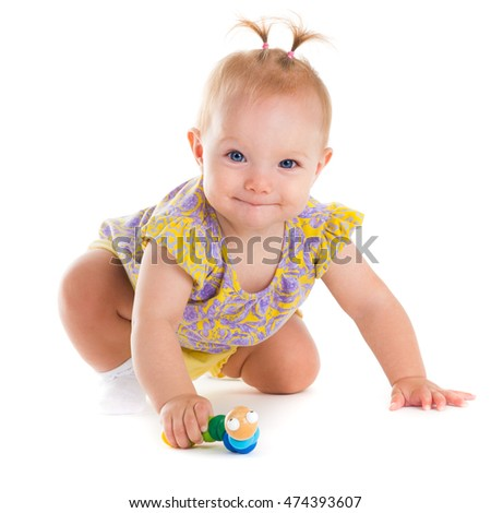 Child. Little girl. Portrait of beautiful happy baby
