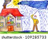 child's drawing watercolor. magician causes rain - stock vector