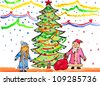 child's drawing watercolor. New year. Santa Claus - stock photo