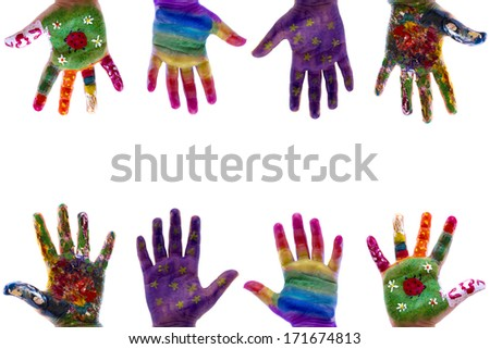 Child's hands painted watercolor on white background. Painted flowers, ladybug, grass, star and rainbow