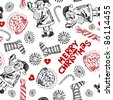 childlike seamless doodles, scribble Christmas design elements - stock photo