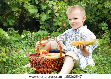 Children and gardening. Harvest. Healthy lifestyle. Healthy people