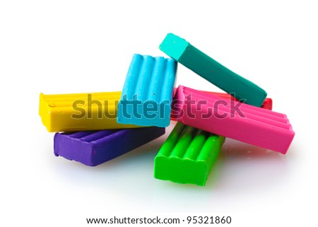 Children bright\ plasticine isolated on white