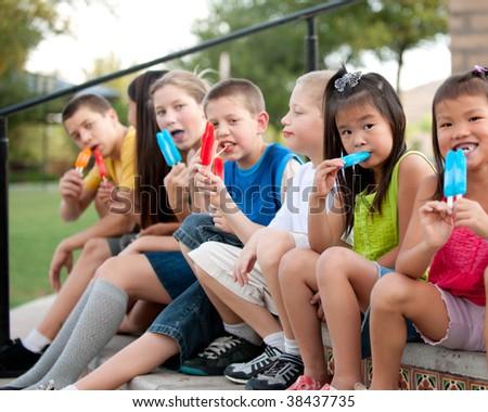 Children Eating Popsicles Stock Photo 38437735 - Shutterstock