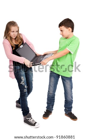 Children fighting over a laptop, isolated on white background