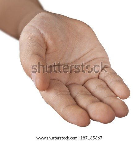 Children hand on a white background.